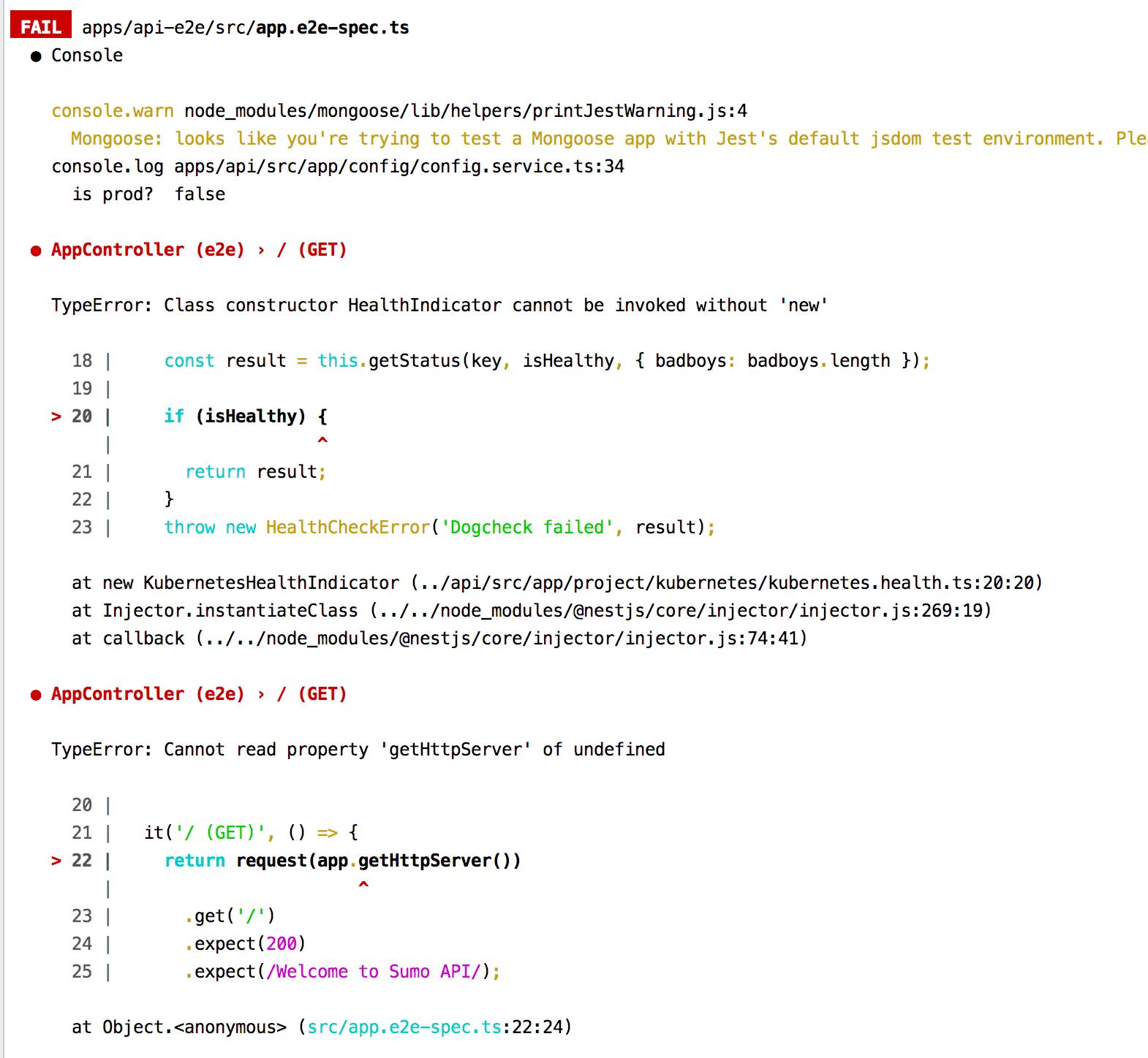 integration tests error: TypeError: Class constructor