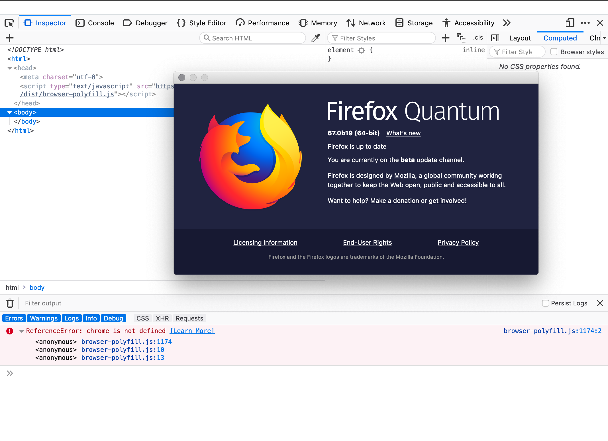 Inclusion in Firefox throws a console error · Issue #186