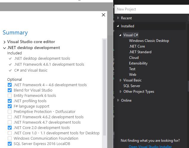 No  NET Framework-based F# templates on 15 4 1 17102103