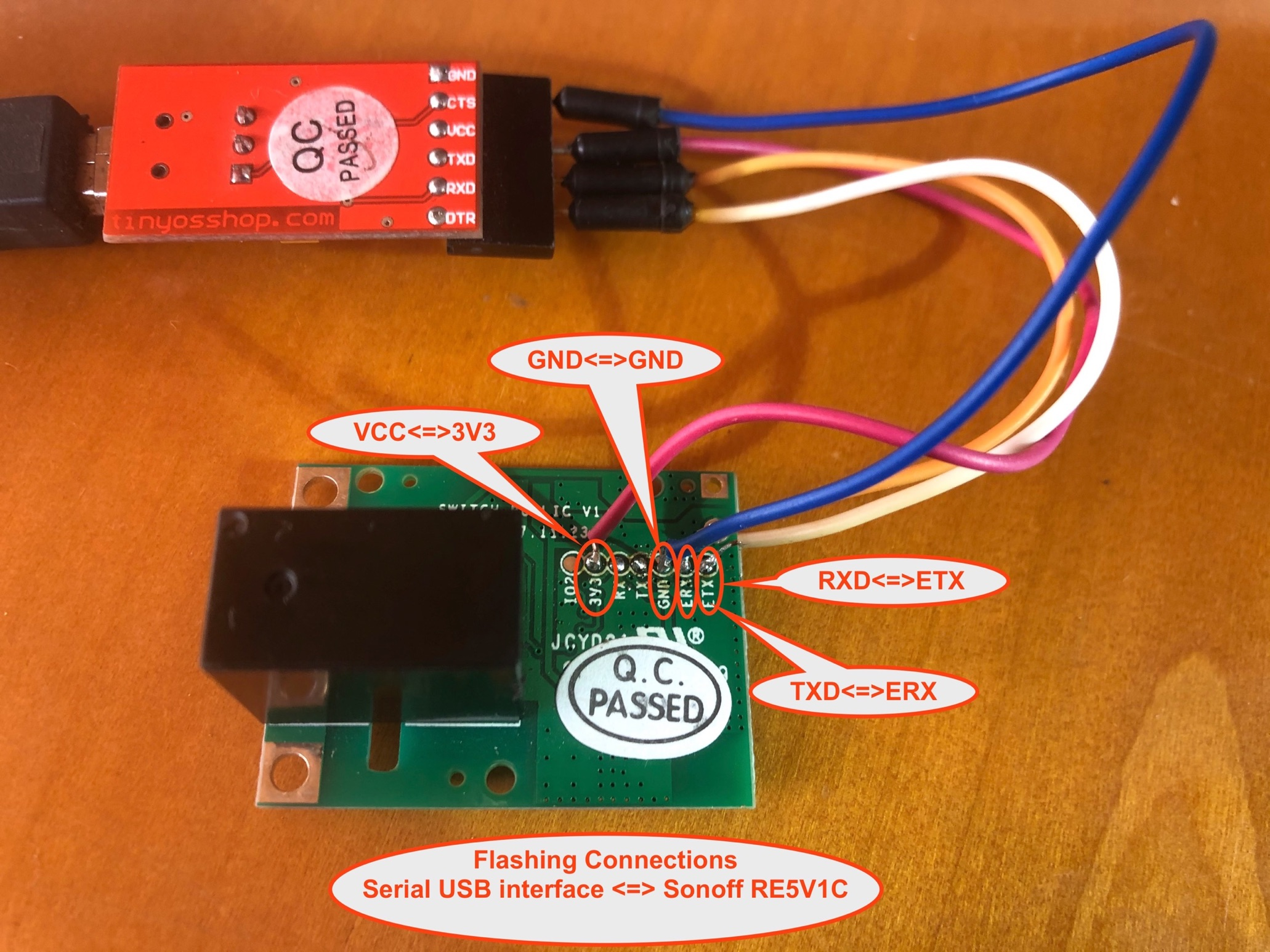 Sonoff RE5V1C serial flash connections