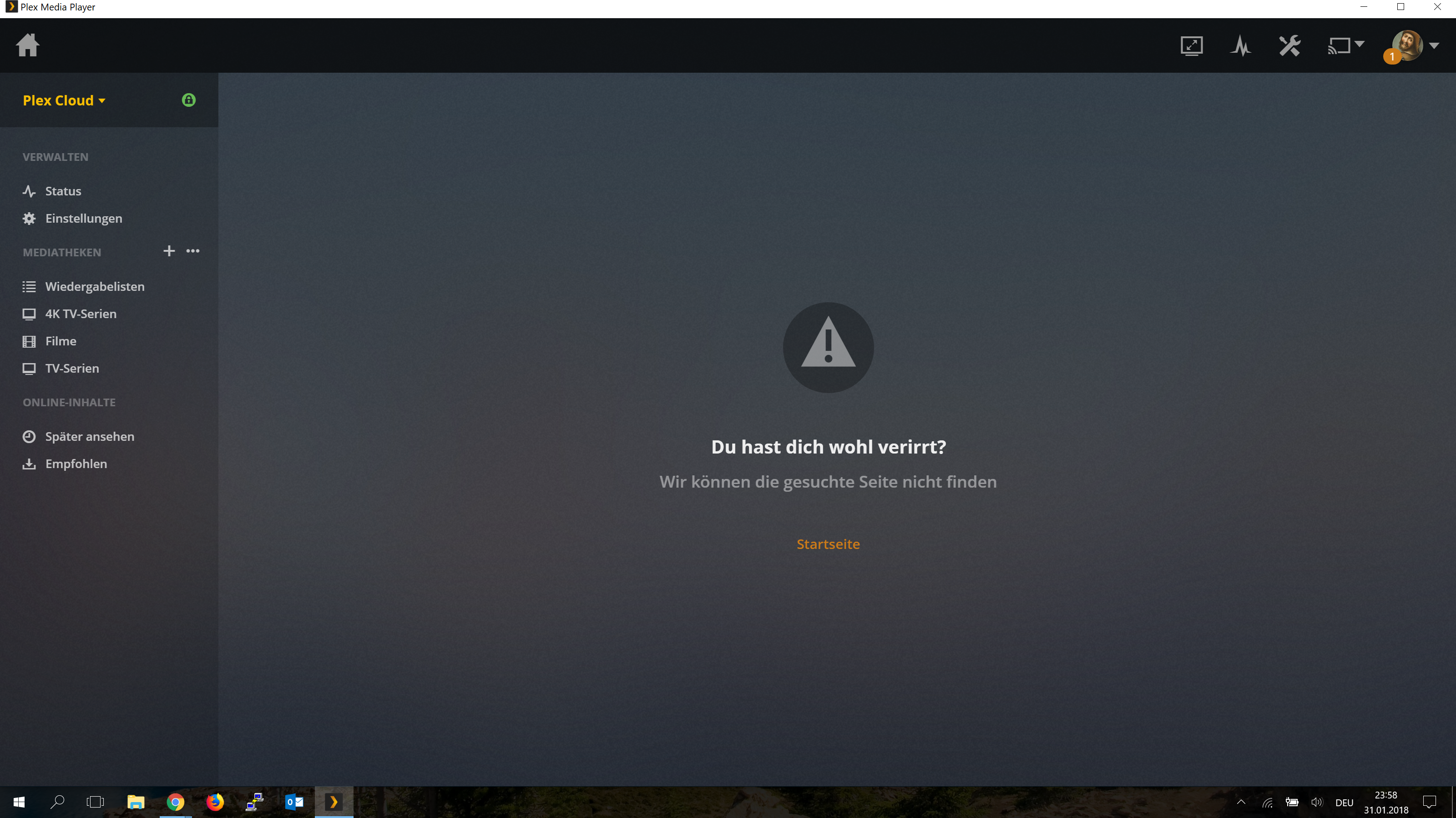 You Must be Lost` on selecting Plex Cloud server · Issue