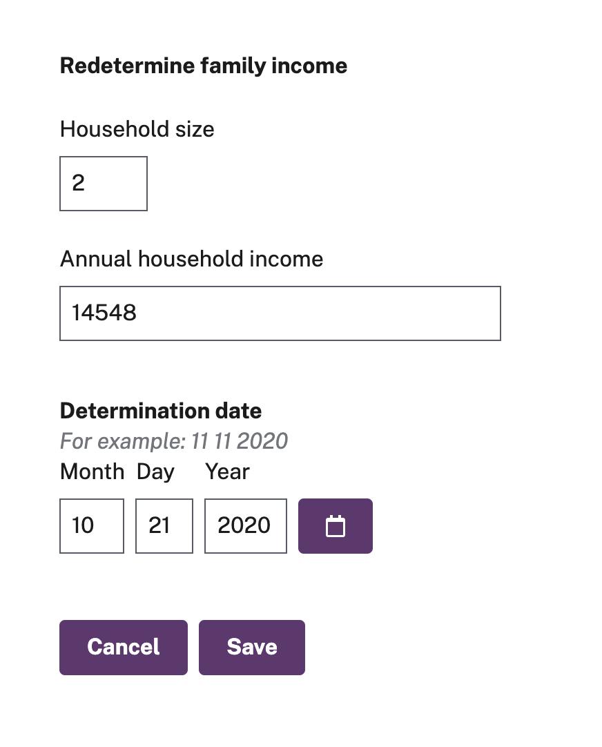 redetermine income form