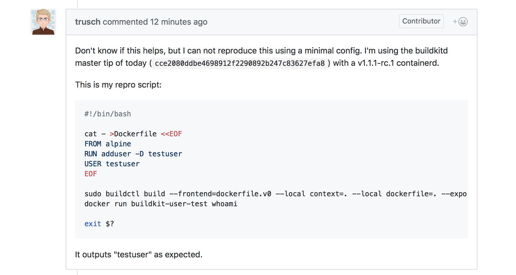 USER is not honored with Dockerfile frontend · Issue #469