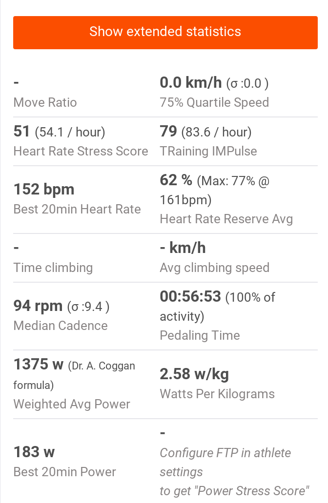 Trainer Road Virtual Ride not calculating PSS  · Issue #753