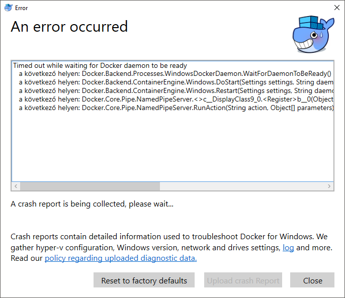 Docker failing to start on Windows 10 -