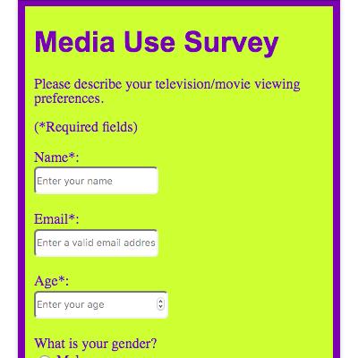 Survey form screenshot