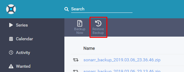 Restore backup · Issue #2980 · Sonarr/Sonarr · GitHub
