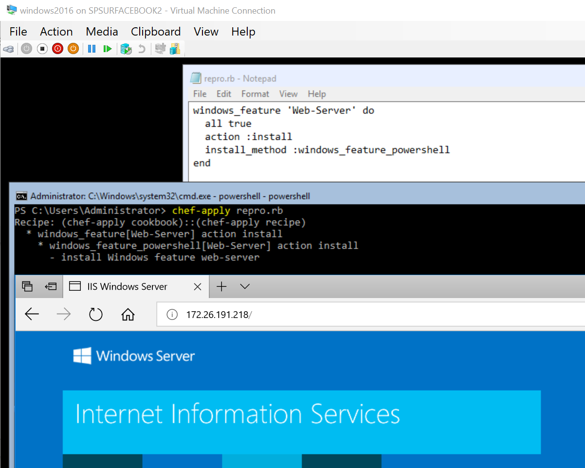 Using Chef 14 resource windows_feature to install IIS on a supported