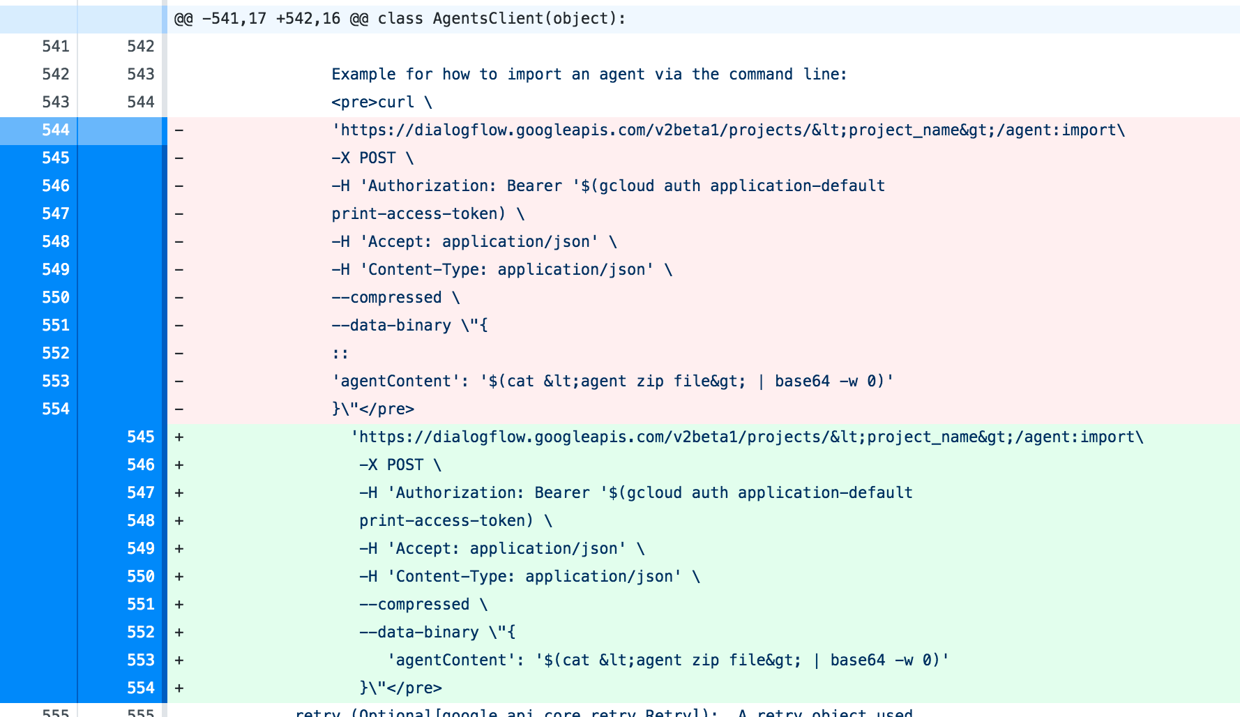 Sphinx finds unexpected indentation in dialogflow docstrings · Issue