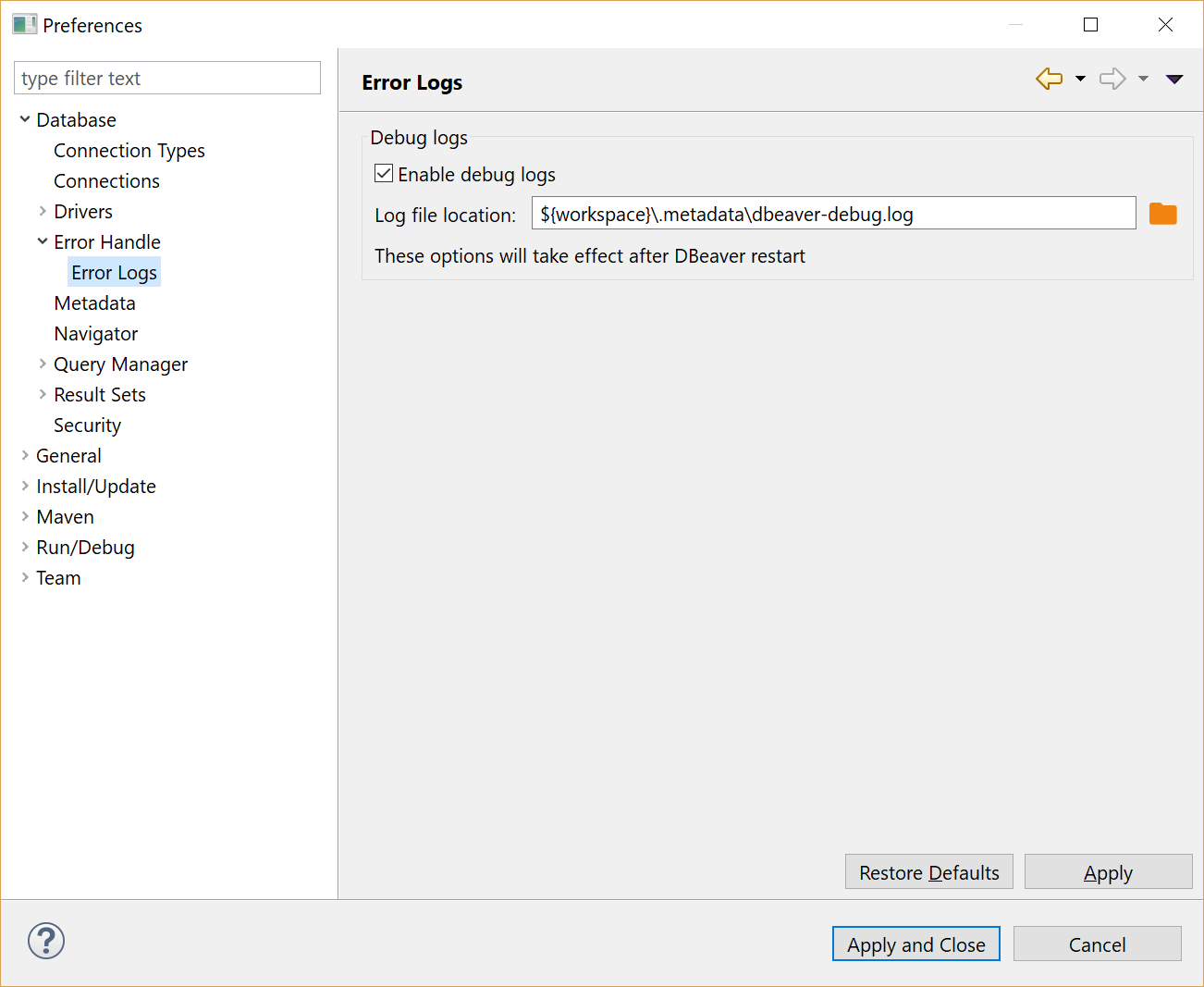 Create of debug log file does not work if I have changed