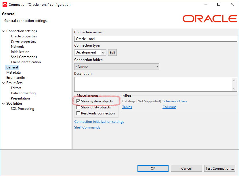 SYS and SYSTEM objects are not visible in Oracle Database while