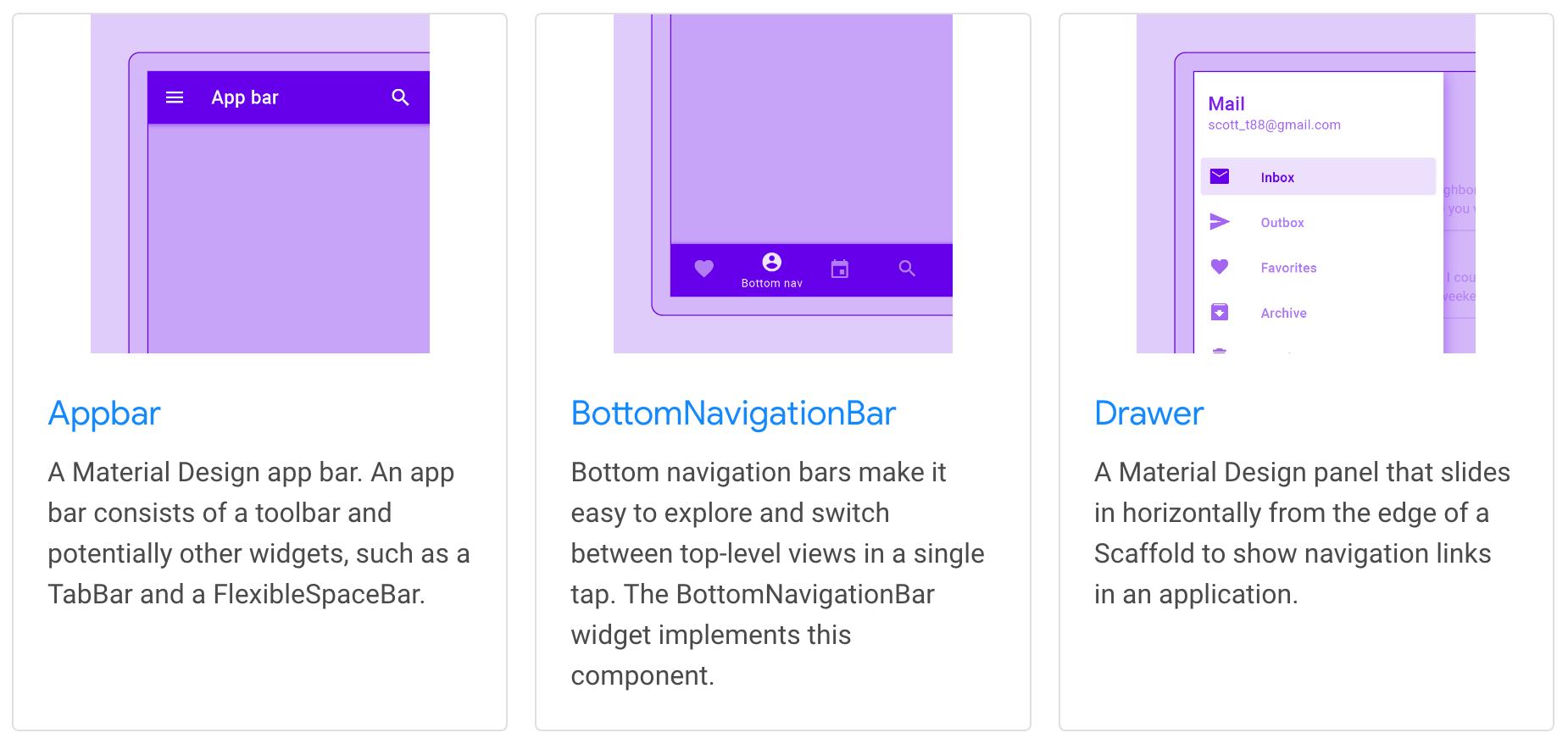 플러터 머티리얼 컴포넌트 위젯 목록: Appbar, BottomNavigationBar, Drawer.