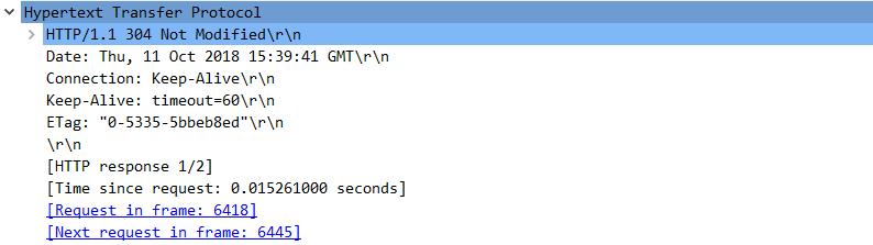 HTTP 응답 메시지. 304 Not Modified 상태 코드.