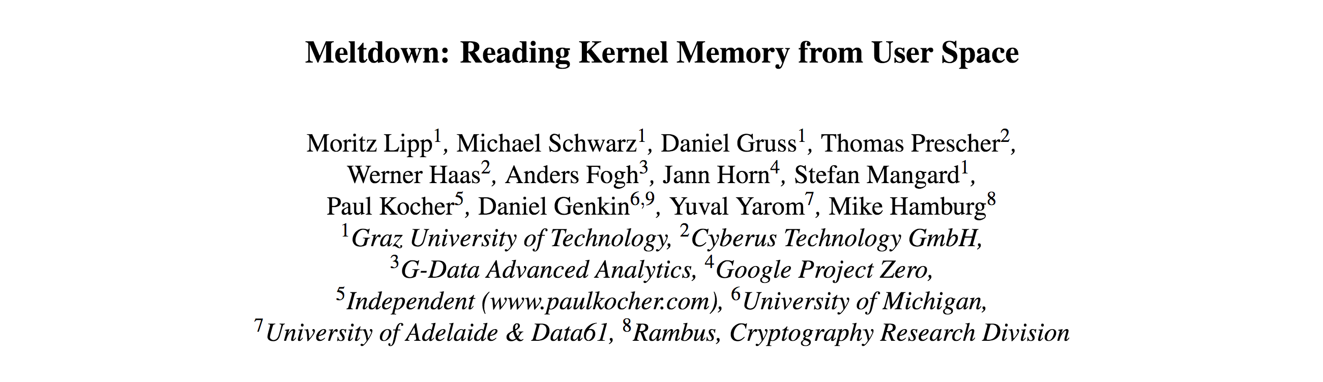 Meltdown: Reading Kernel Memory from User Space.