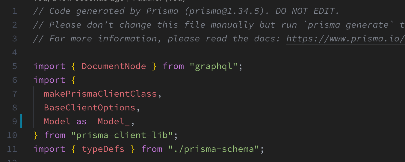 Interface 'Model' in 'prisma-client-lib/types d ts' overlap