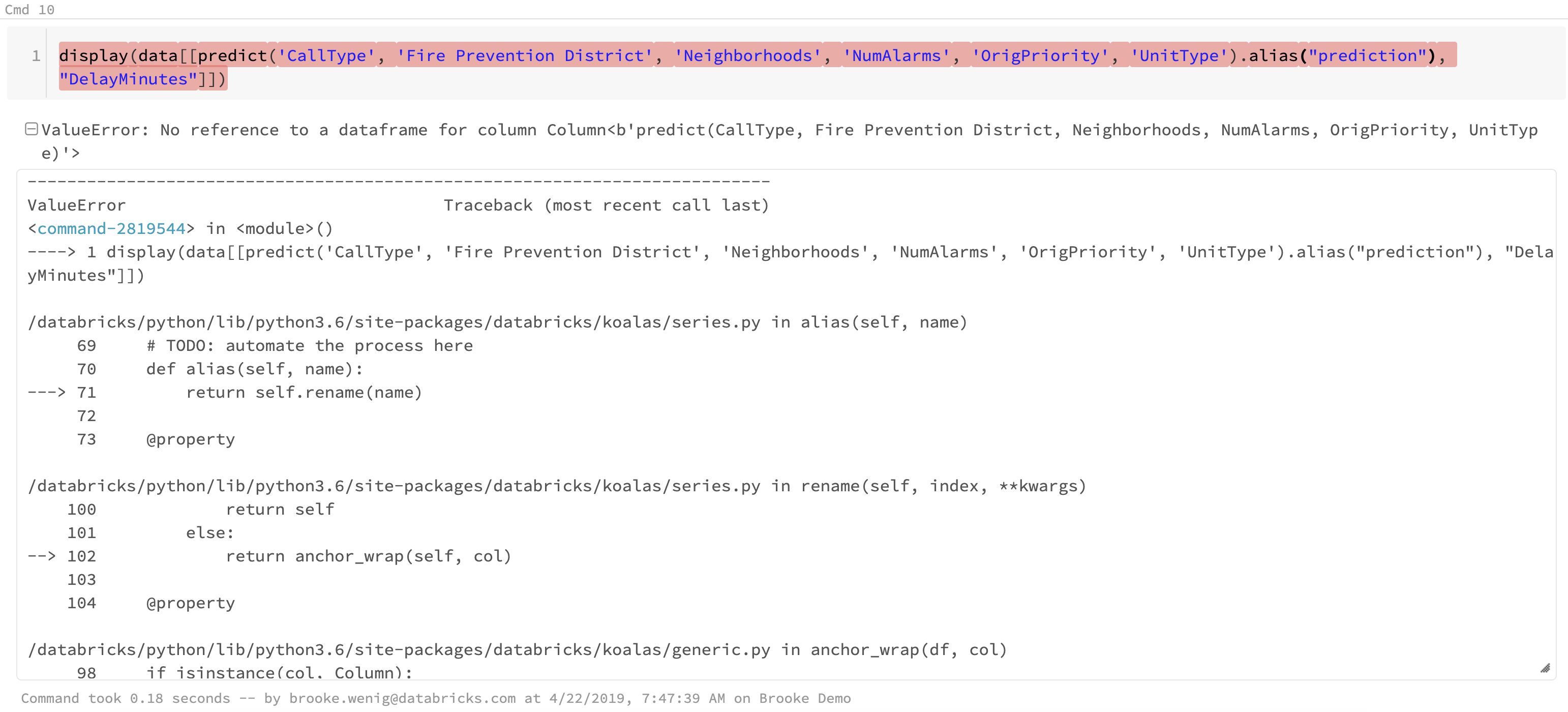 Can't use Spark's  alias() to rename column · Issue #131