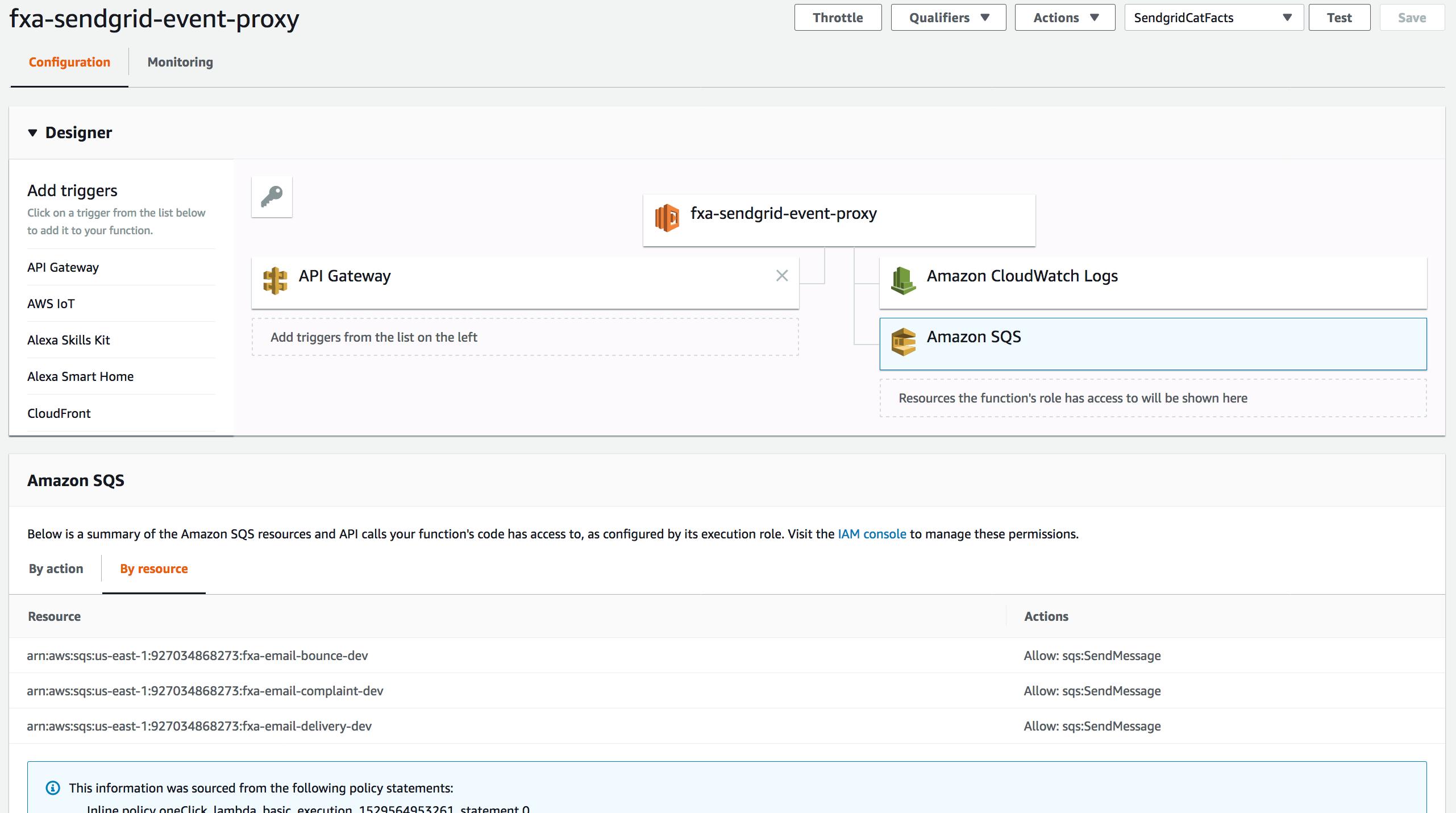 Screenshot showing AWS Lambda config to set up fxa-email-event-proxy for Sendgrid