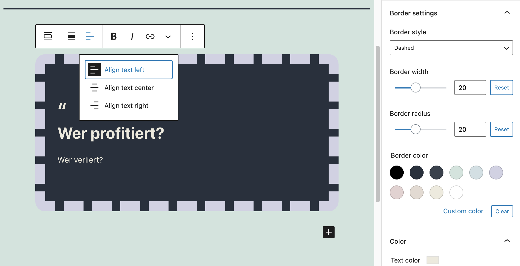 Pullquote: Add border and color support