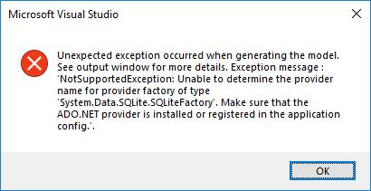 Can't finnish ADO NET Entity Data Model wizard SQlite EF6 VS