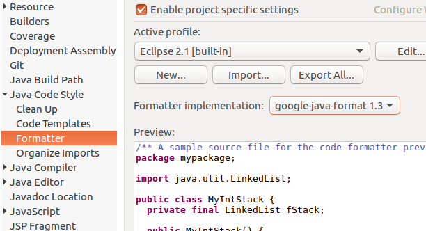 google-java-format Eclipse plugin does not provide AOSP