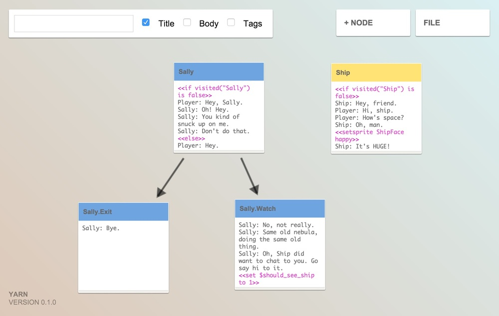 Idea: Bundle Yarn - a dialogue editor for interactive stories