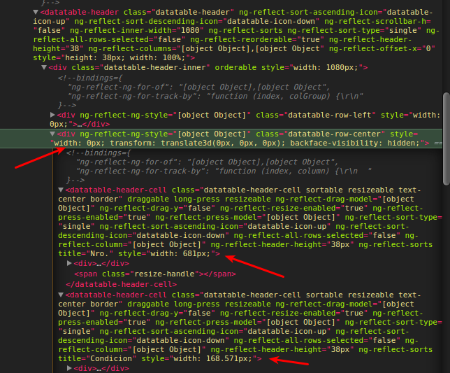 Datatable header width is not calculated · Issue #1174