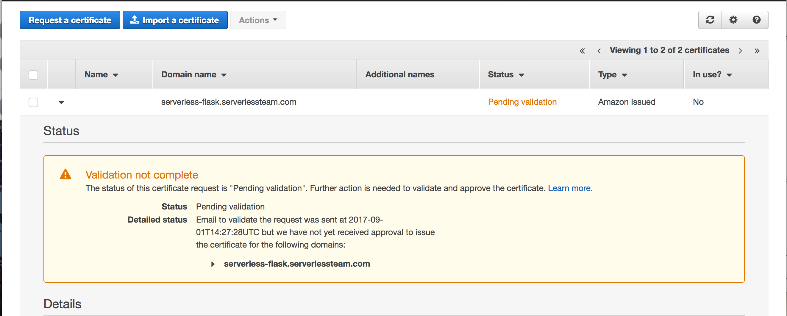 Certificate Pending Validation