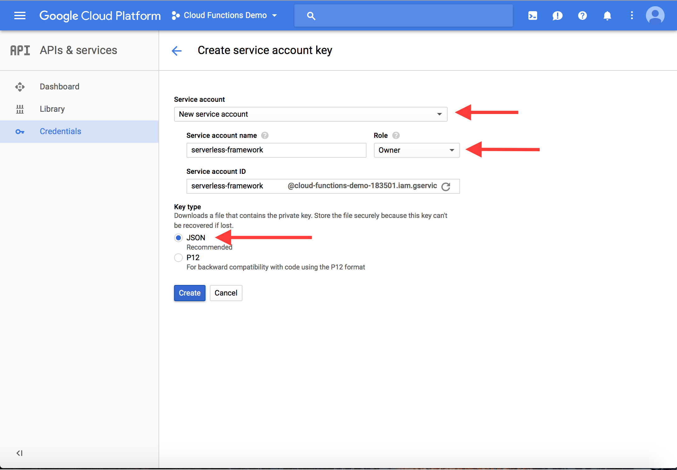 GCP Create Service account key