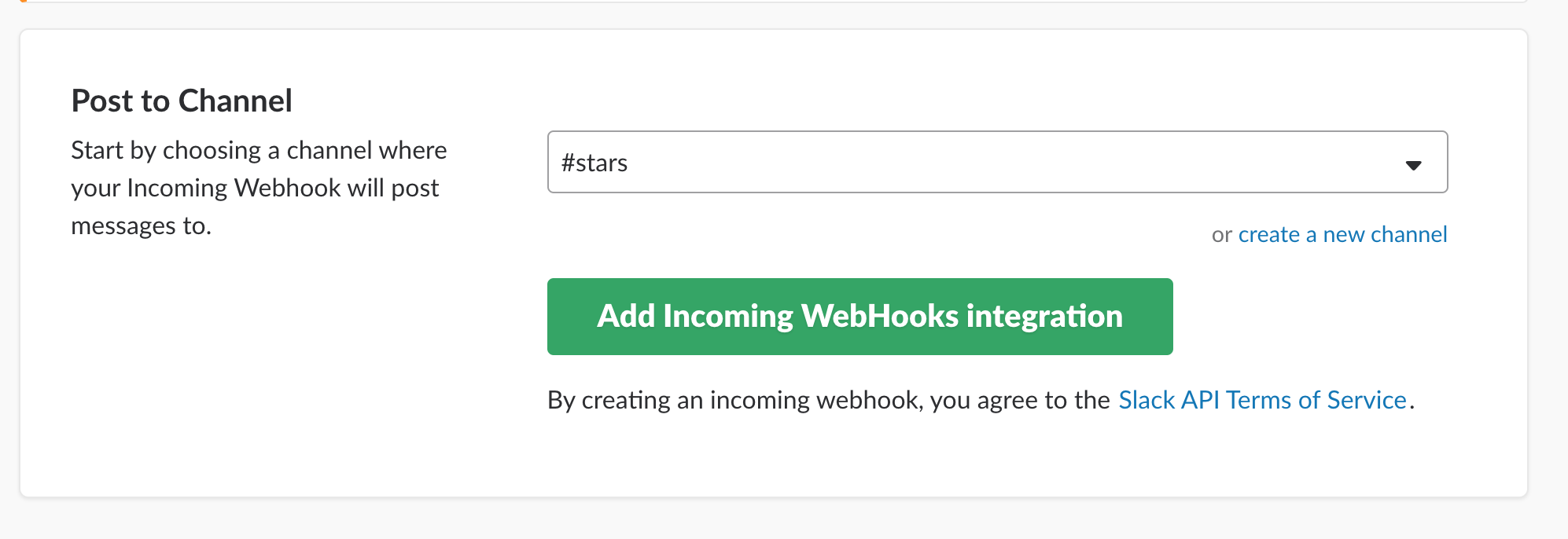 Create Incoming Webhook app
