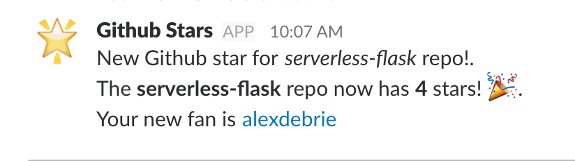 Slack example message