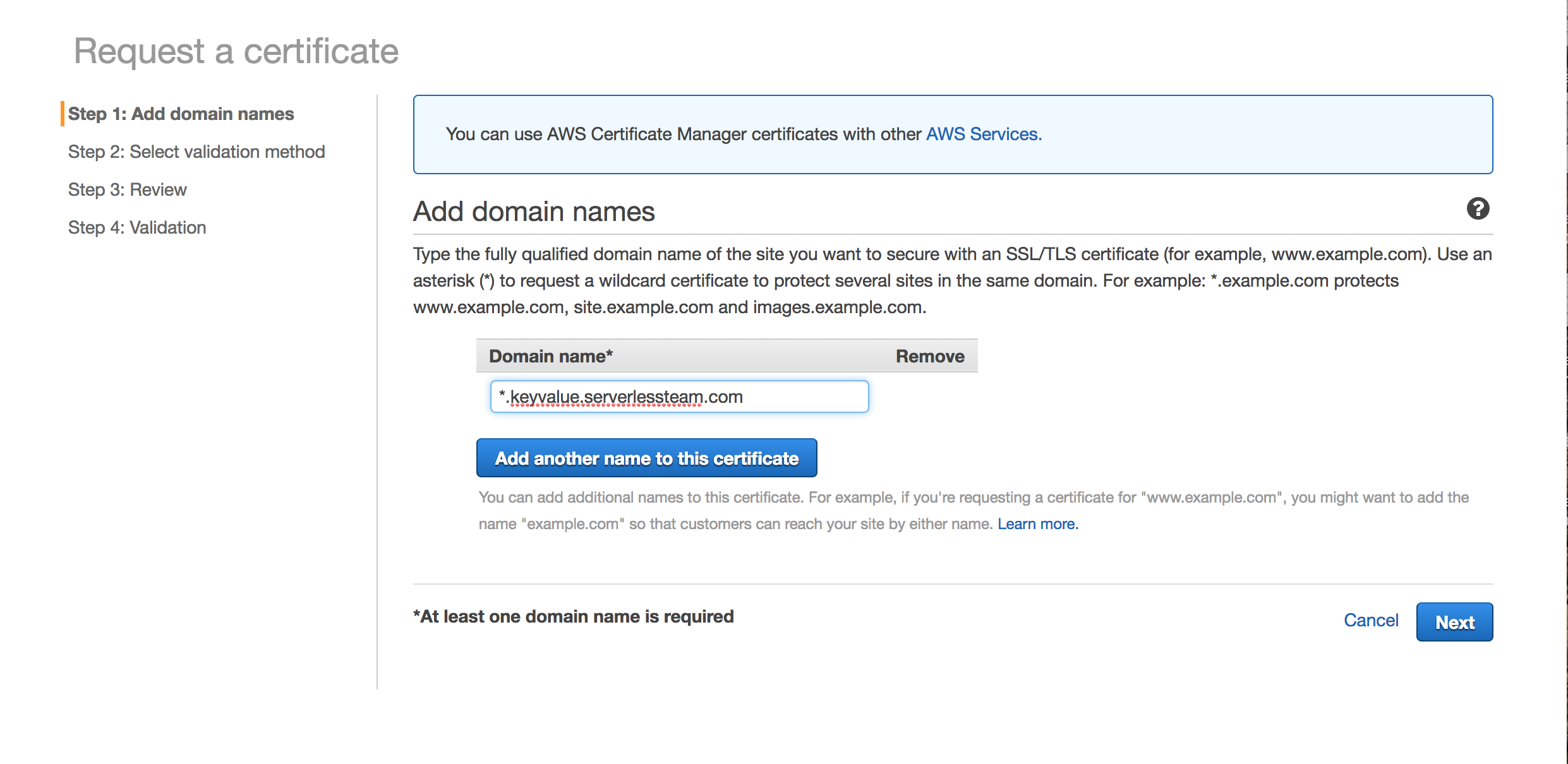 Request an ACM certificate