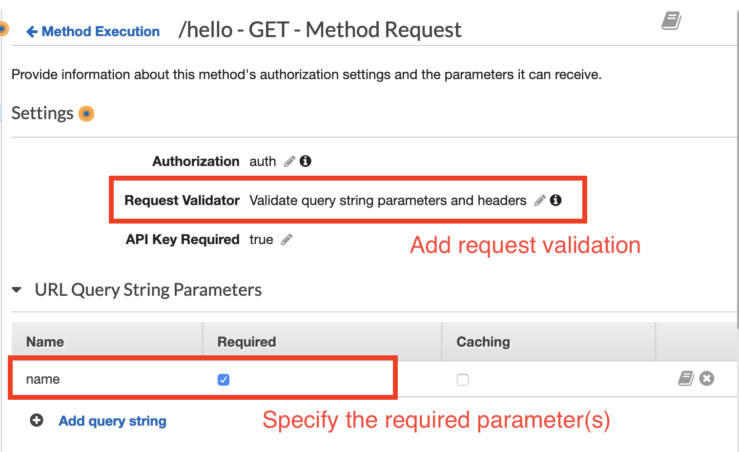API Gateway parameter validation