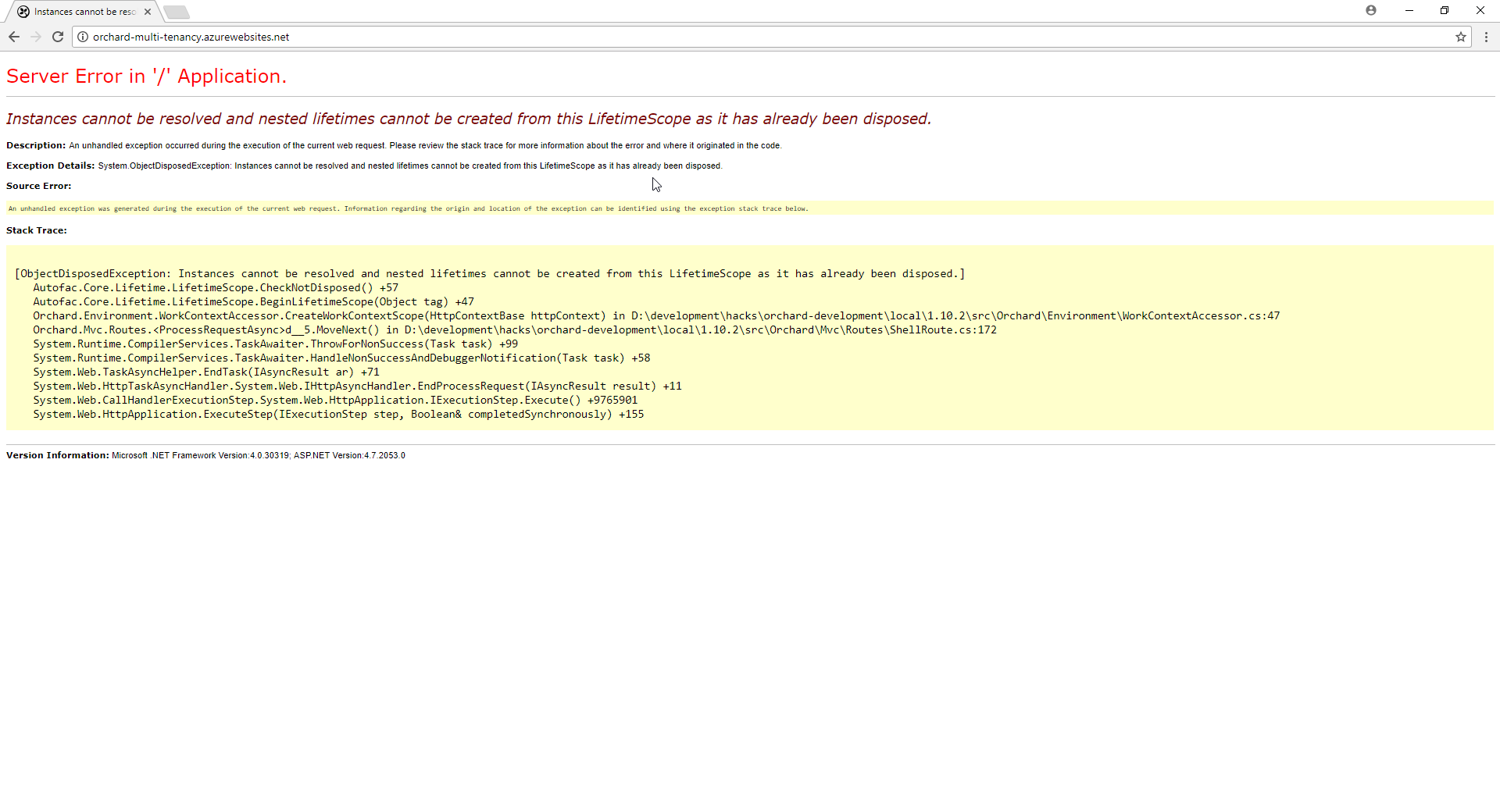 Site error when running Multi Tenancy · Issue #7875 · OrchardCMS