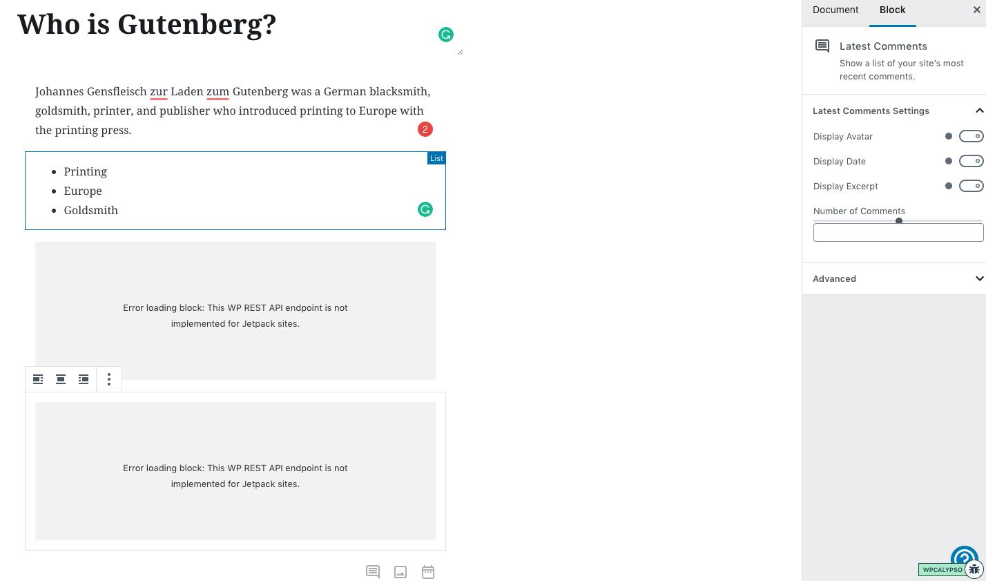 Gutenberg: (Latest Posts and Archive Block) Block Editor