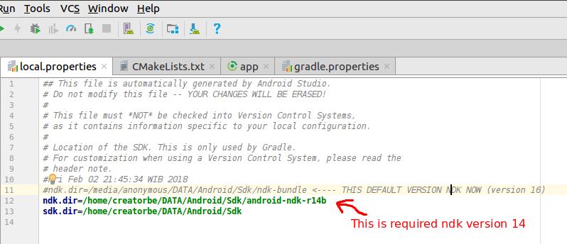 Error:Gradle project cmake path is    \app\build\secure-keys