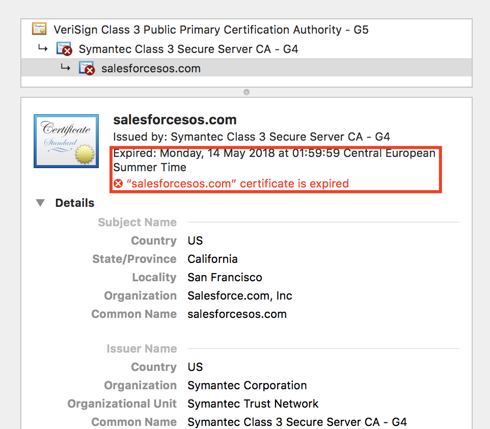 Salesforcesos Certificate Is Expired Issue 48 Forcedotcom