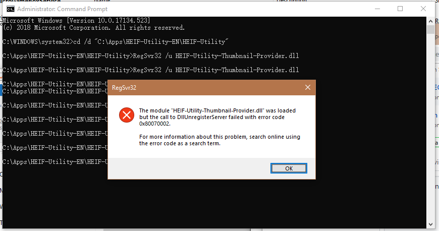Unable to un-register HEIF-Utility-Thumbnail-Provider dll with error