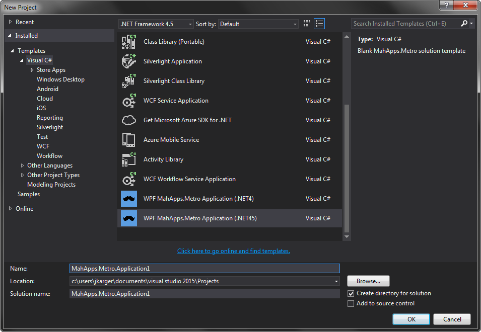 Visual Studio Templates · MahApps/MahApps.Metro Wiki · GitHub