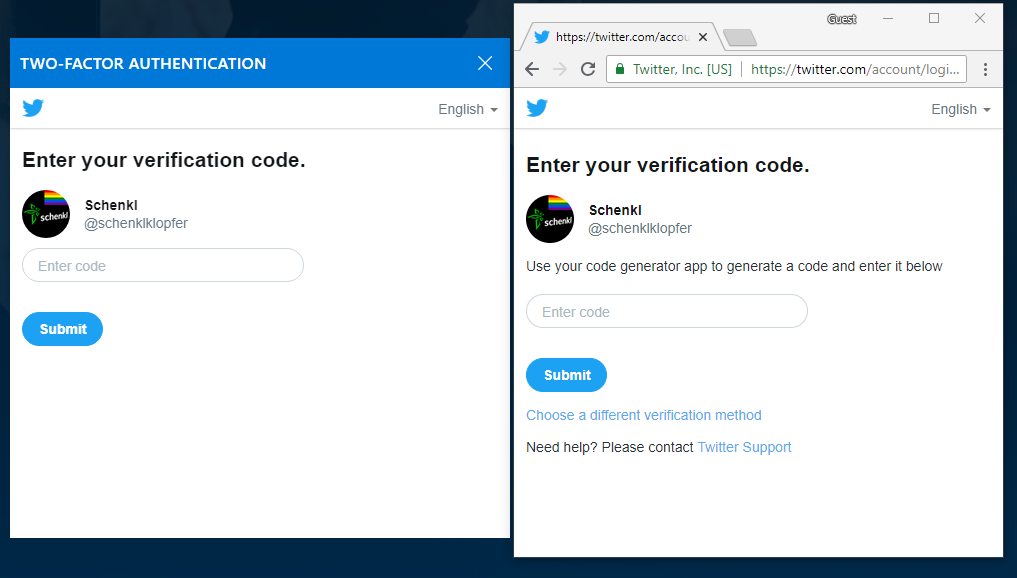 Two-Factor Authentication, no different verification possible