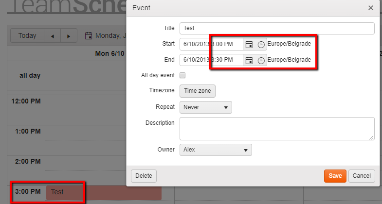Scheduler event with certain timezone jumps when being