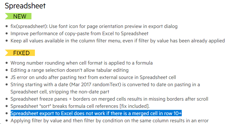 Spreadsheet export to Excel does not work if there is a