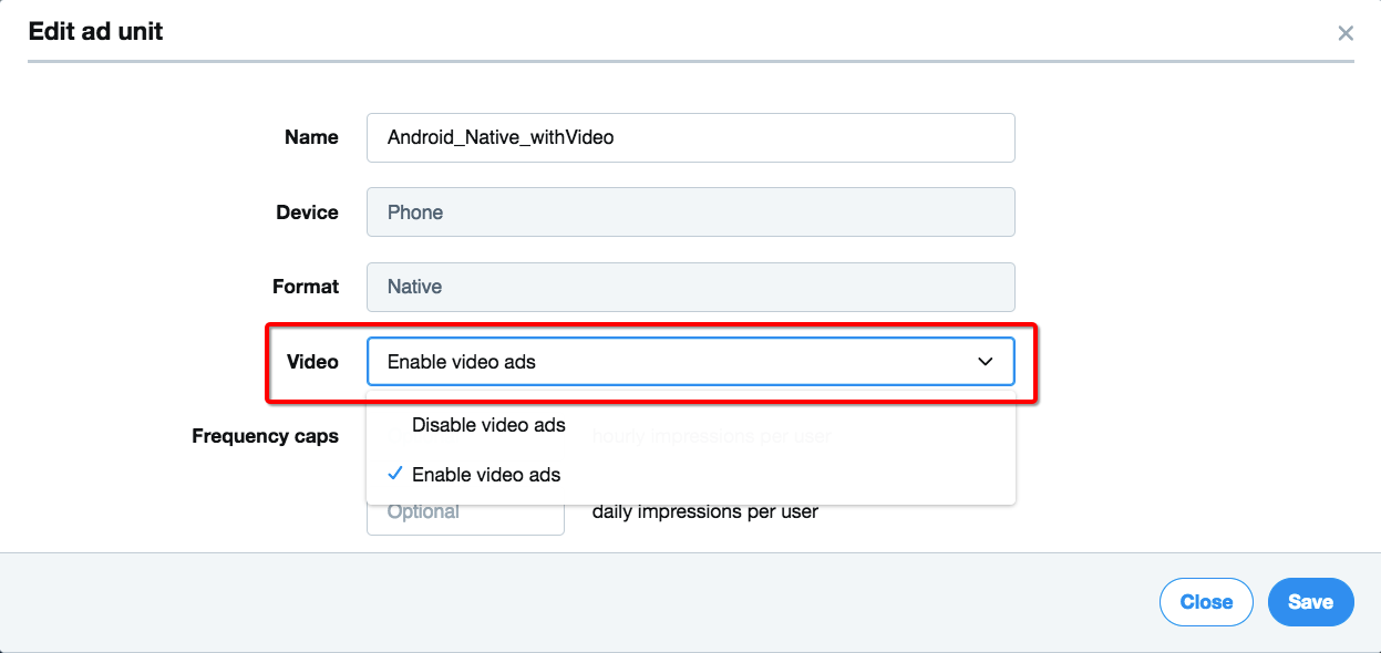 Enable Video Ads