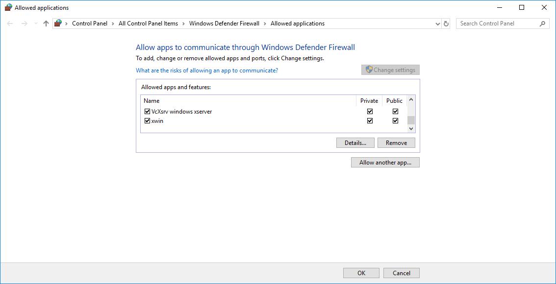 docker-for-win: firewall settings / no X window appears · Issue #108