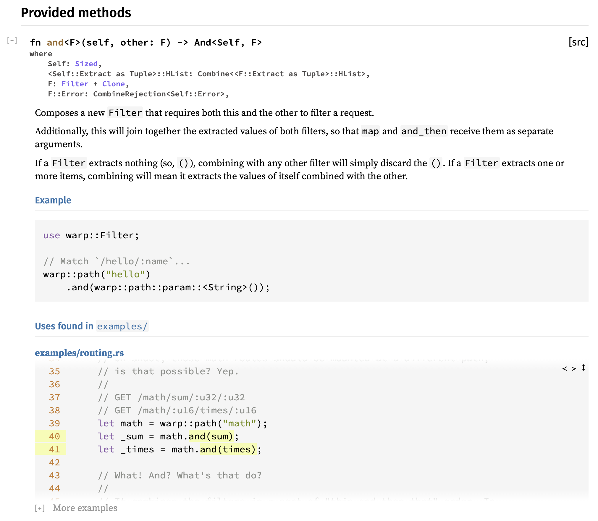 UI for scraped examples shown with Filter::and