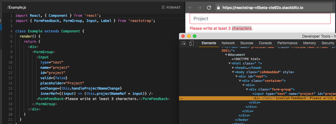 FormFeedback's style is now working when an input validation
