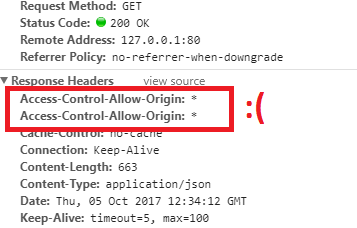 The 'Access-Control-Allow-Origin' header contains multiple values