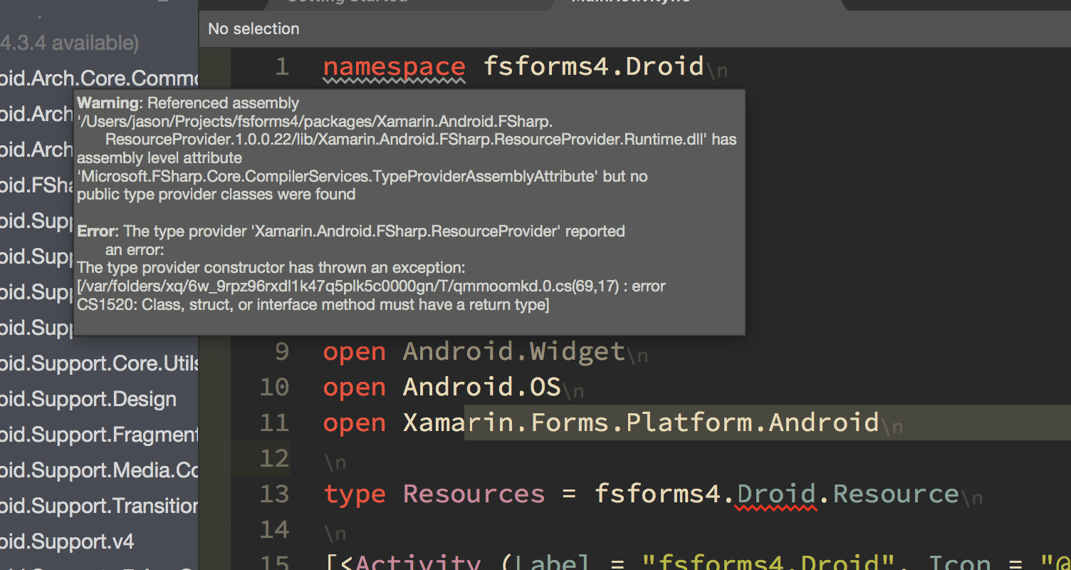 F#] Error in Android resource type provider when using XF