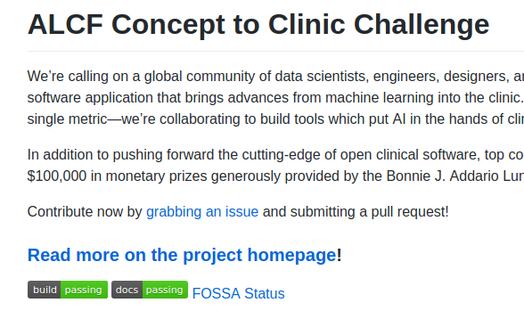 Concept to Clinic - Open Source ML/AI Challenge