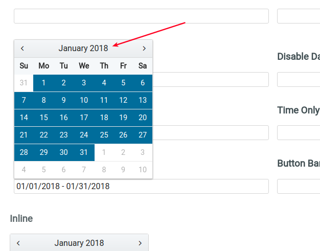 Calendar: click on month to select whole month as a range