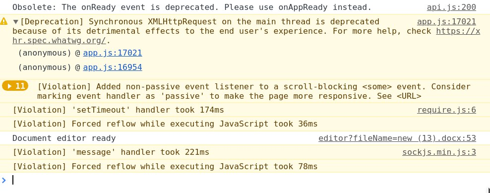 Remove oboslete warning about `onReady` event · Issue #54